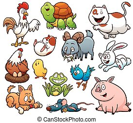 Farm Animals - Vector illustration of Cartoon Farm Animals...