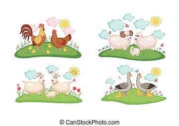 Farm animals families set