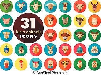 Farm animals flat icons set. Vector head.