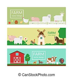 Farm animals flat style banner templates
