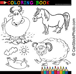 Farm Animals for Coloring Book or Page