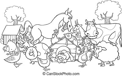 farm animals for coloring - cartoon illustration of farm...