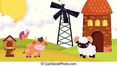 farm animals goat bull turkey windmill barn hen house