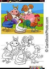 farm animals group cartoon illustration coloring book page