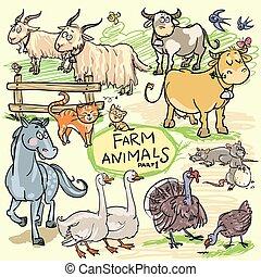 Farm animals, hand drawn collection, part 1.