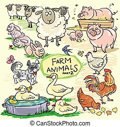 Farm animals, hand drawn collection, part 2
