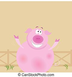 Farm animals: happy pig - Happy pig on farm. Cartoon...