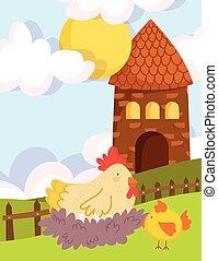 farm animals hen in nest chicken barn fence grass cartoon