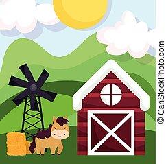 farm animals horse barn windmill hay field cartoon
