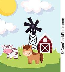 farm animals horse cow barn windmill meadow cartoon