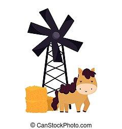 farm animals horse windmill hay cartoon