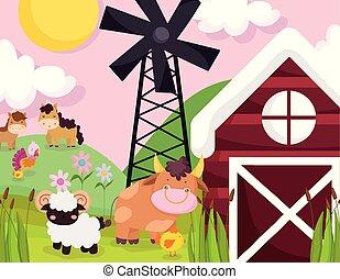 farm animals horses bull goat windmill barn meadow sky