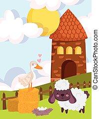 farm animals house goose goat nest grass fence cartoon