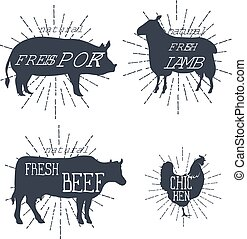 Farm animals icons set. Collection of labels with beautiful letterings such as chicken, beef, pork, lamb. Vector
