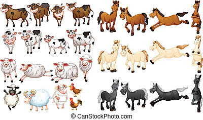 Farm animals - Illustraion of many type of farm animals