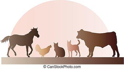 Farm Animals Illustration - Farm animals including a horse,...