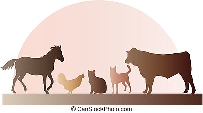 Farm Animals Illustration - Farm animals including a horse,...