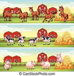 Farm animals in the farmyard
