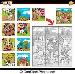farm animals jigsaw puzzle game - Cartoon Illustration of...