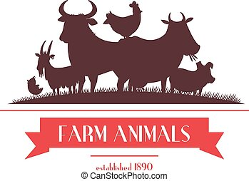 Farm Animals Label Or Signboard Design