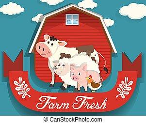 Farm animals living on farm
