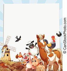 Farm animals living on farmland illustration