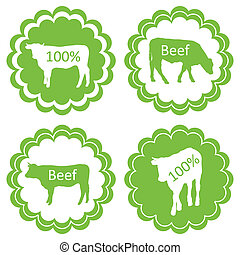 Farm animals market ecology organic beef meat label vector...