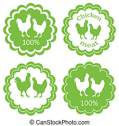 Farm animals market ecology organic chicken meat label vector background concept