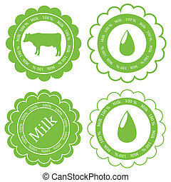 Farm animals market ecology organic milk label vector background concept