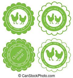 Farm animals market ecology organic chicken meat label...