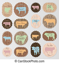 Farm animals market egg and meat labels food vector - Farm...