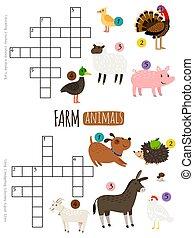 Farm animals mini crosswords