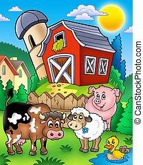 Farm animals near barn - color illustration.