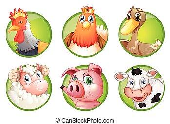 Farm animals on green badges