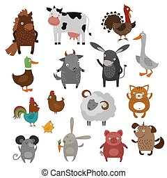 Farm animals pets vector cartoon. Farm home vector animals. ...