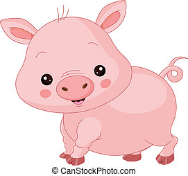 Farm animals. Pig - animal, farm, Pig, character, cheerful,...