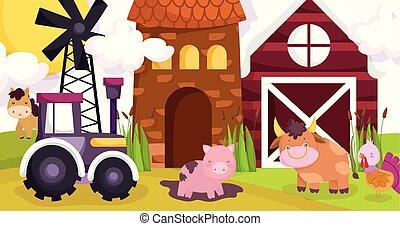 farm animals pig in mud horse bull turkey tractor barn house windmill