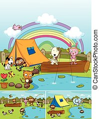 Farm animals playing in the park
