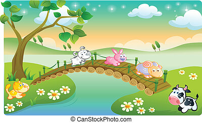 farm animals playing