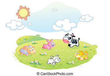 farm animals posing at the garden