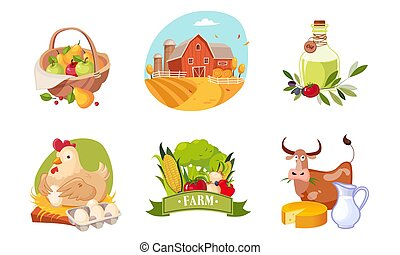 Farm Animals, Poultry and Eco Healthy Products Set, Farm and Agricultural Badges Vector Illustration