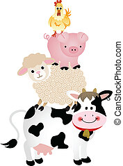 Farm Animals - Scalable vectorial image representing a farm...