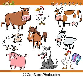 farm animals set cartoon illustrati