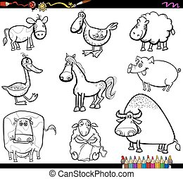 farm animals set coloring book
