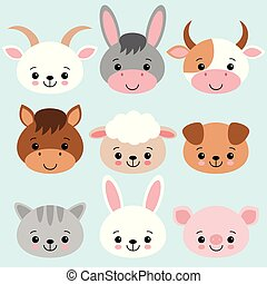 Farm animals set in flat style isolated on blue background. Vector illustration. Cute cartoon animals collection sheep, goat, cow, donkey, horse, pig, cat, dog, rabbit.
