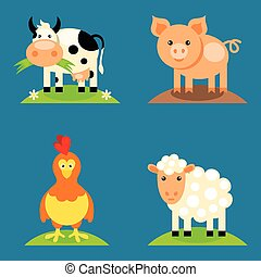 Farm animals set in flat vector style with a chicken, pig, ...
