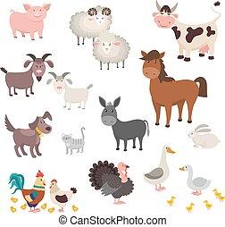 Farm Animals set. Isolated homes animal pig chicken horse dog turkey rabbit cat. Vector illustration
