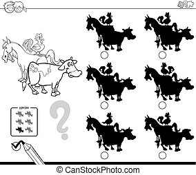 farm animals shadows educational game color book - Black and...