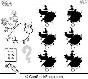 farm animals shadows game coloring book