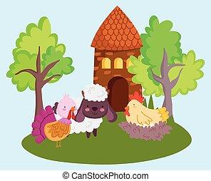 farm animals sheep turkey hen in nest barn trees cartoon